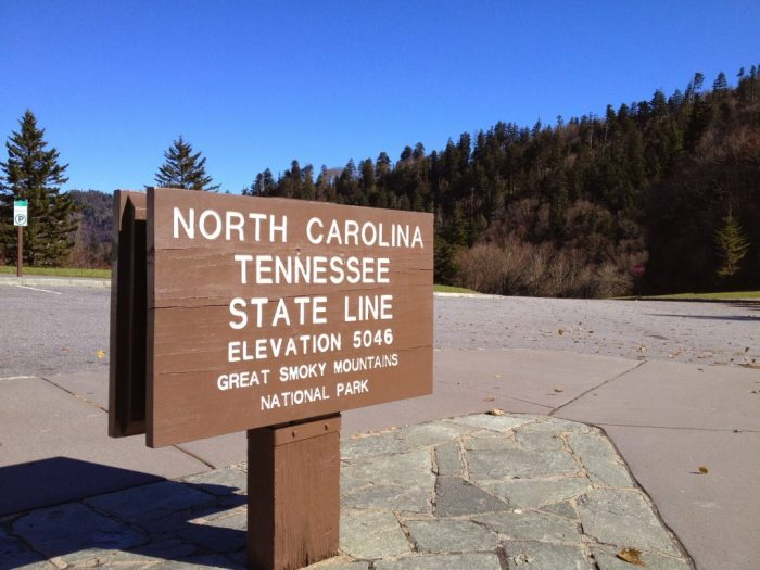North Carolina and Tennessee state line in the Smokey Mountains