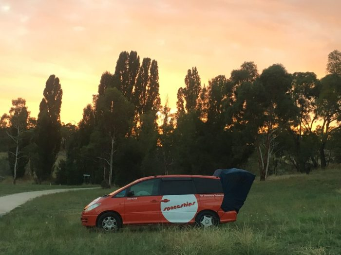 Sunset campervan Australia travel costs vacation