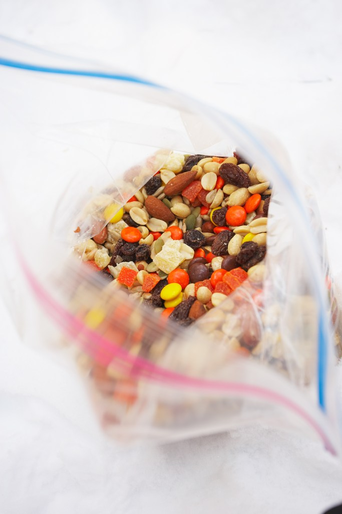 travel snacks, trail mix, small item packing checklist