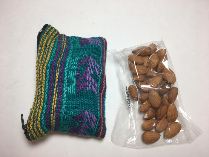 Small travel pouch, almonds, small item packing checklist