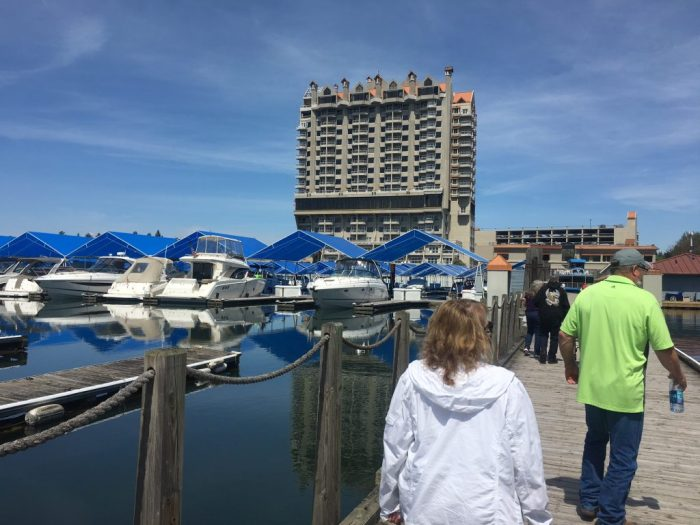 Walking around the boardwalk in Coeur d'Alene, Idaho travel with parents