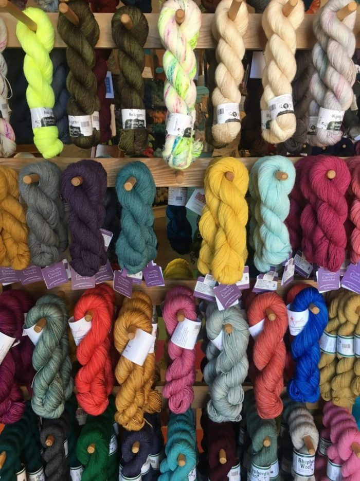 colored yarn at KnitKnit in Coeur d'Alene, Idaho