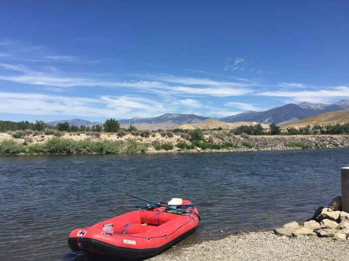 Blue sky, red raft, Salmon River, new life to old adventures