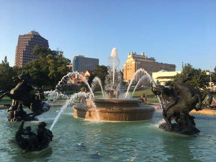Country Club Plaza fountain Kansas City sunset