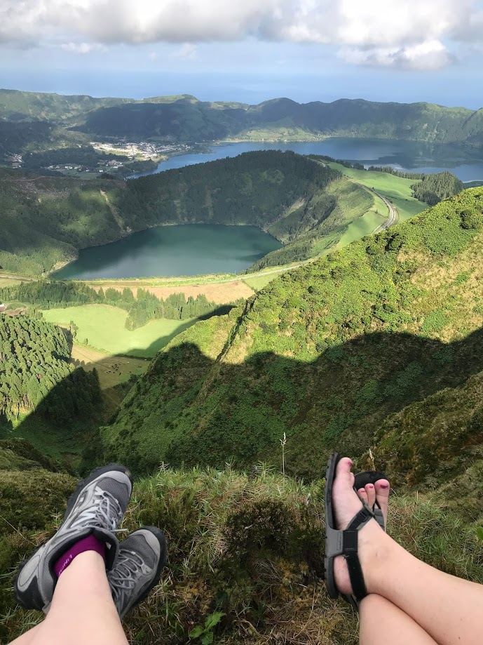São Miguel Island, Azores, feet, lake and ocean view