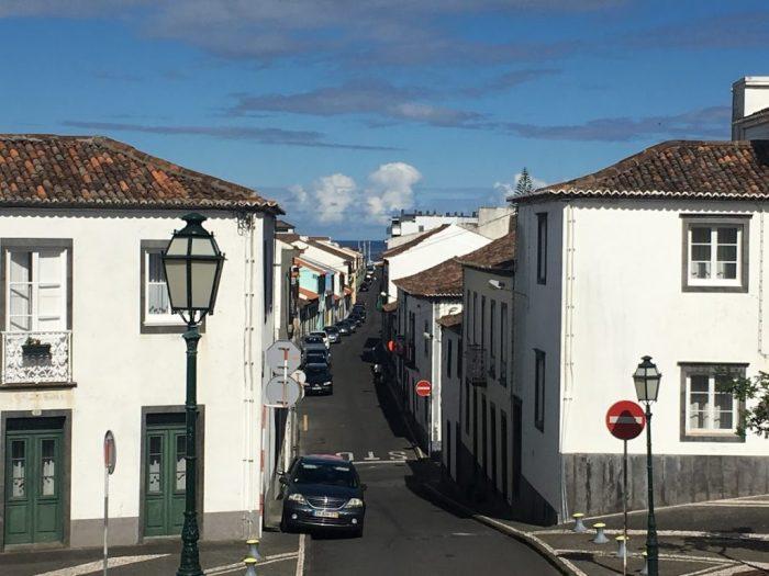 Ribeira Grande, São Miguel Island, Azores, narrow street