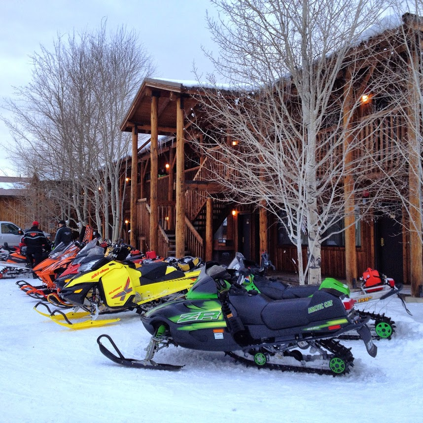 Snowmobiles in Stanley, Idaho winter travel