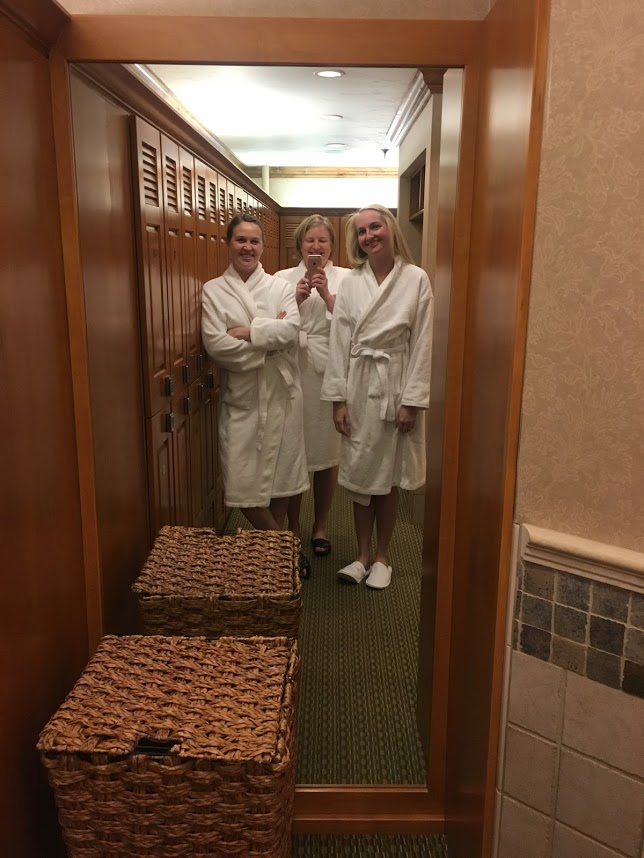 spa day, white robes, friends, Jackson Hole, Wyoming