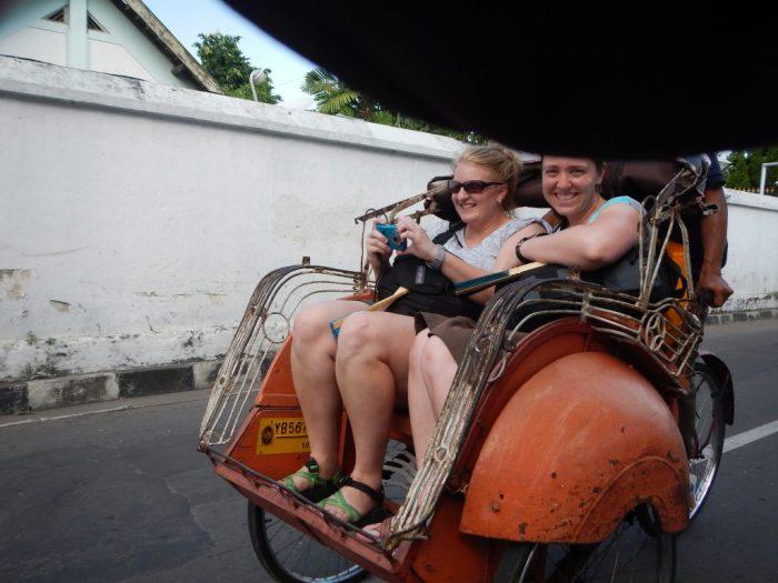 Riding in tuk tuk in Java