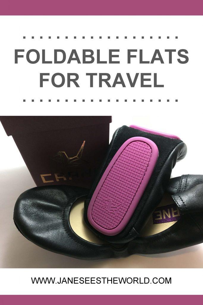 foldable flats crane ballet flats travel purple soles