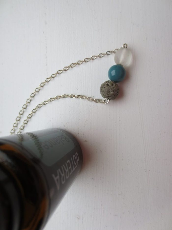 silver necklace lava bead traveling with essential oils