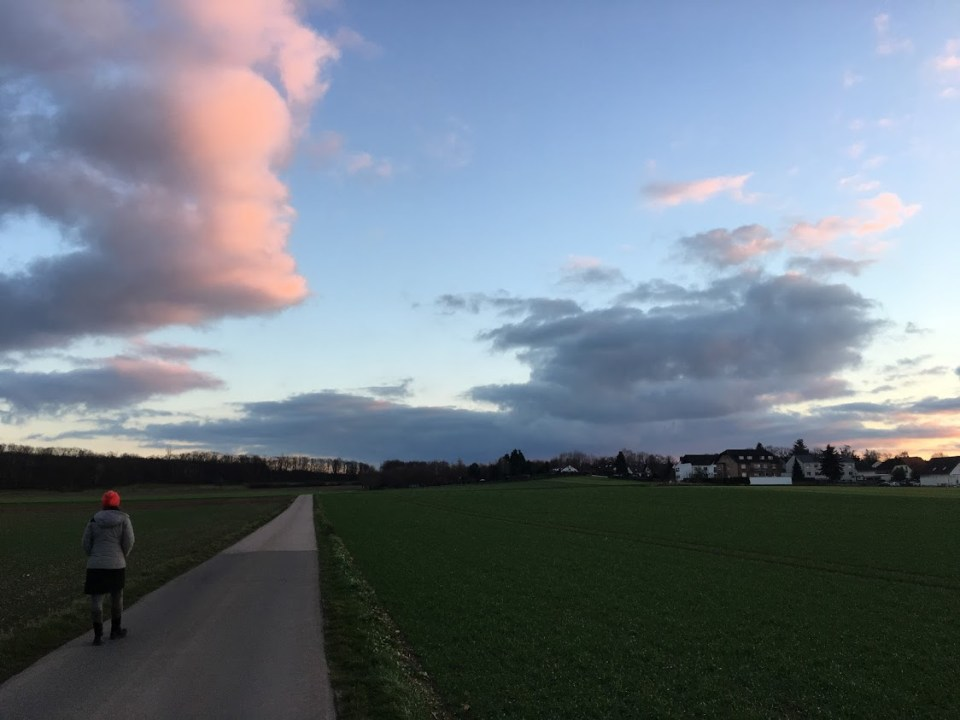 Sunset in rural Germany around Christmastime.