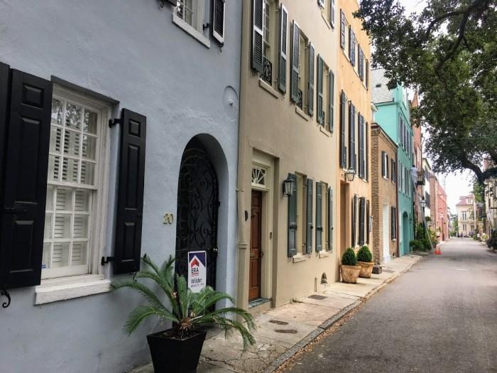 Charleston street with pastel houses