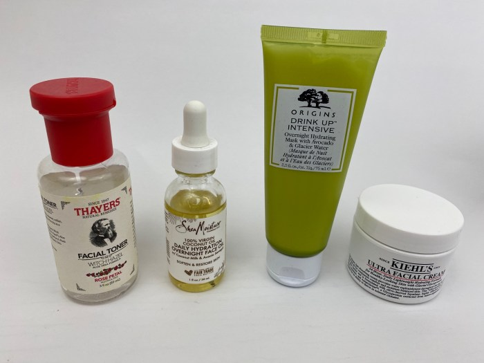 Thayers face toner, Shea Moisture face oil, Origins face mask, Kiehl's face cream products for DIY airplane facial kit