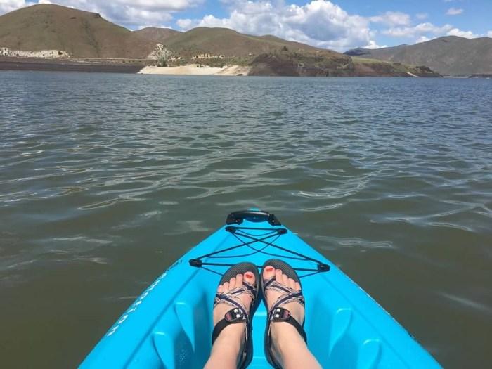 blue kayak Lucky Peak State Park