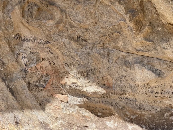 California settlers' names engraved in the rock at City of Rock.