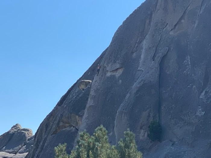 Rock climber at City of Rocks National Reserve.