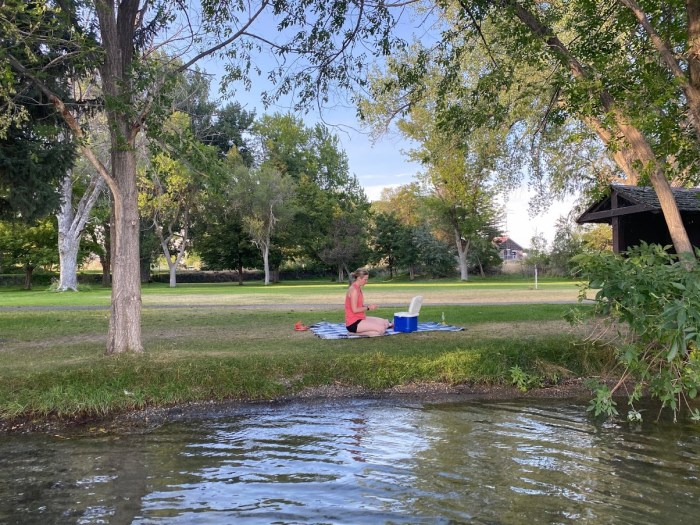 girl, picnic by the water