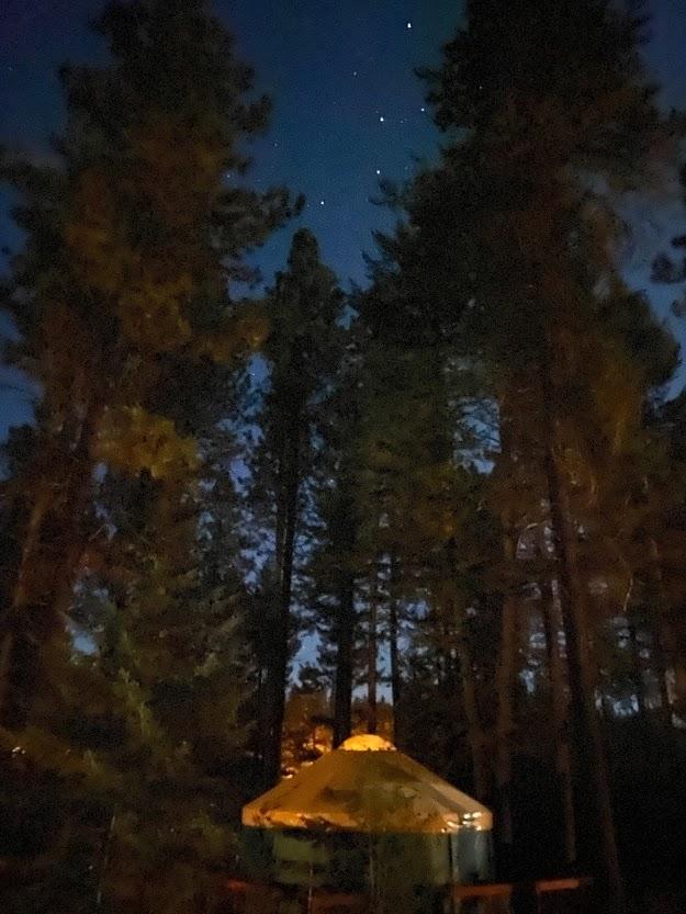 yurt camping night stars Idaho