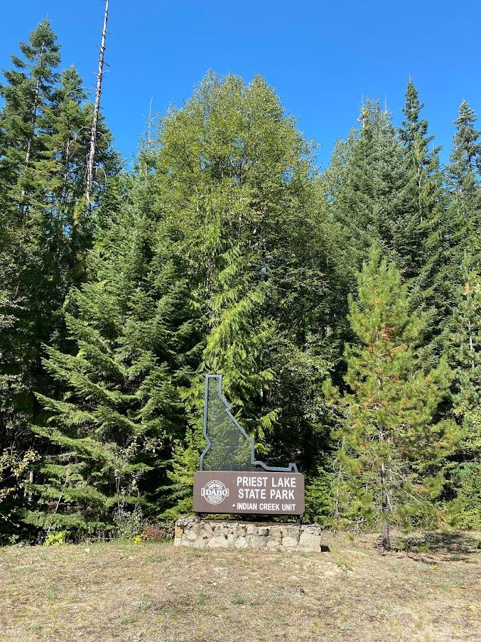 Priest Lake State Park sign.