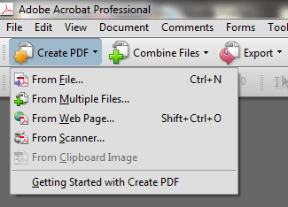 Create a document in Adobe Acrobat 8