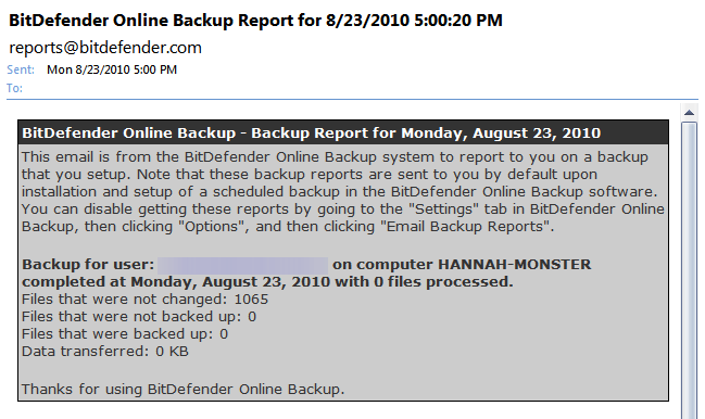 BitDefender Email Report for backup