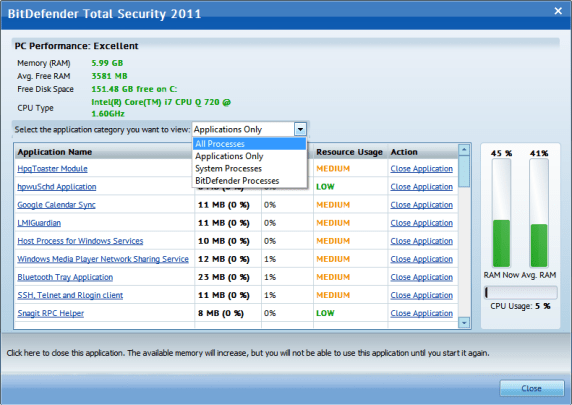 BitDefender Performance Monitor
