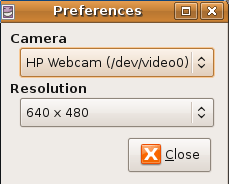 Ubuntu Cheese Webcam preferences
