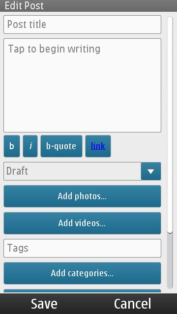 Create Post in WordPress for Symbian