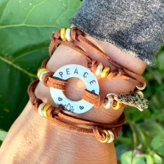 Metal Stamp Wrap Bracelet Wearing