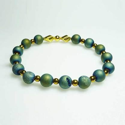 Aqua Green Druzy and Metal Beaded Bracelet