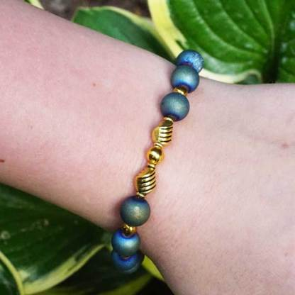 Druzy Aqua Gold Bead Bracelet