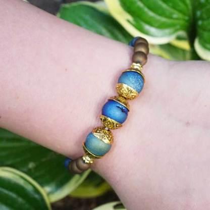 Druzy Aqua and Gold Vintage Gold toned Bead Bracelet