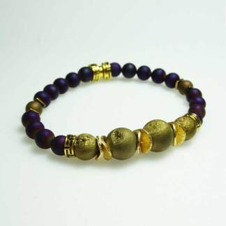 Gold and Purple Druzy Stone Beaded Bracelet
