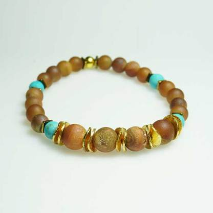 Duzy Peach and Turquoise Beaded Bracelet