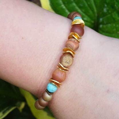 Peach Druzy and Turquoise Bead Bracelet