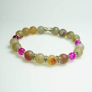 Pearl Druzy and Pink Agate Bead Bracelet