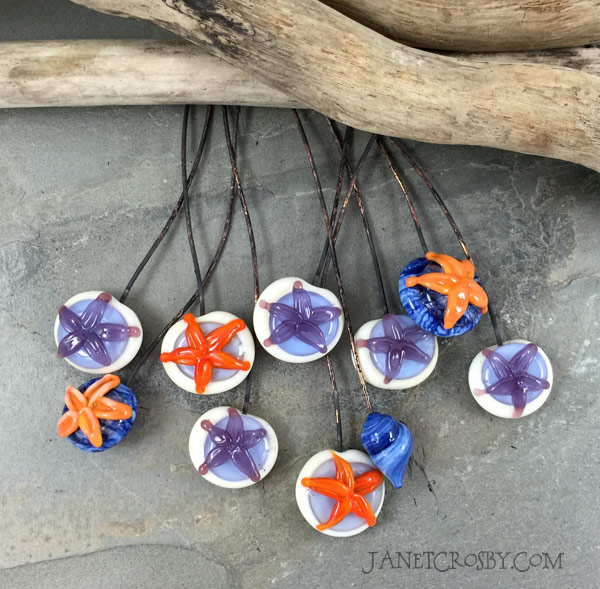 Glass Starfish Headpins