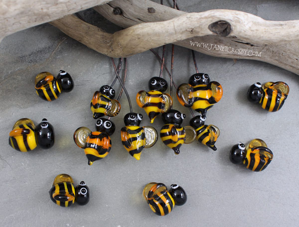 Glass Bee Beads and Headpins