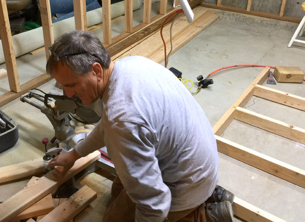 Brent hard at work, with me hammering and drilling too.