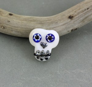 Sugar Skull with Braces Glass Bead - janetcrosby.com