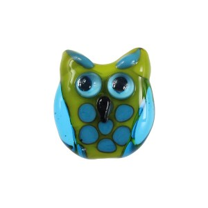 Cool Lime Owl Glass Bead - janetcrosby.com