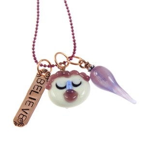 Believe - Lampwork Glass Charm Necklace by Janet Crosby