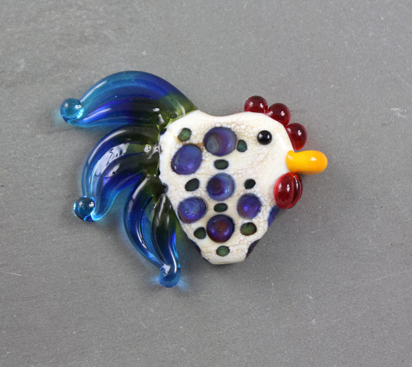 Royal Roo Rooster Bead by Janet Crosby