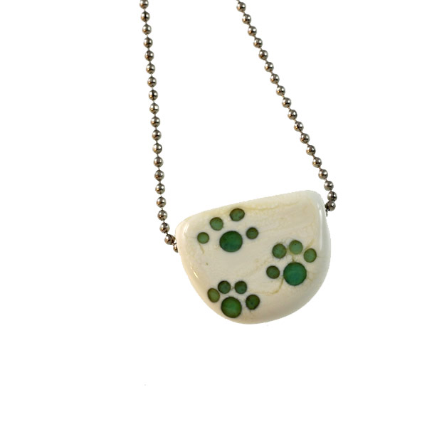 Teal Paw Tab Necklace by Janet Crosby