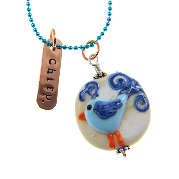 Chirp Blue Bird Necklace by Janet Crosby