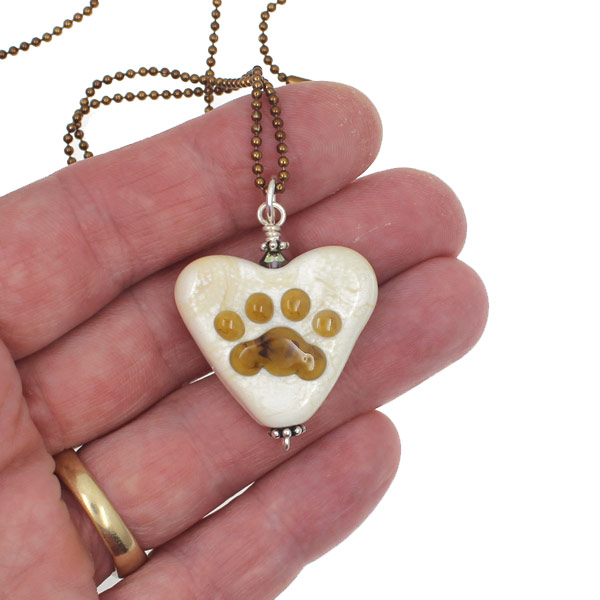 Smoky Topaz Paw Heart Necklace by Janet Crosby