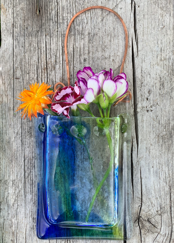 Spring Creek -- Fused Glass flower vase by Janet Crosby