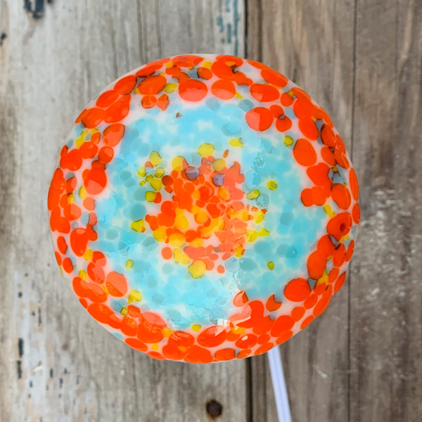 Orange Ice mushroom lamp by Janet Crosby