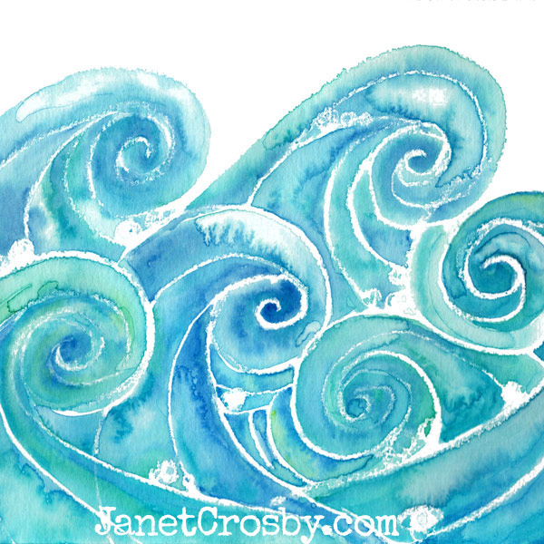 Watercolor Waves by Janet Crosby